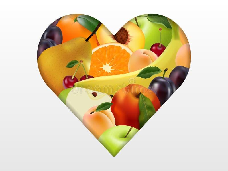 Herz mit Frucht, realistische, saftige Früchte, multifruit, stock abbildung