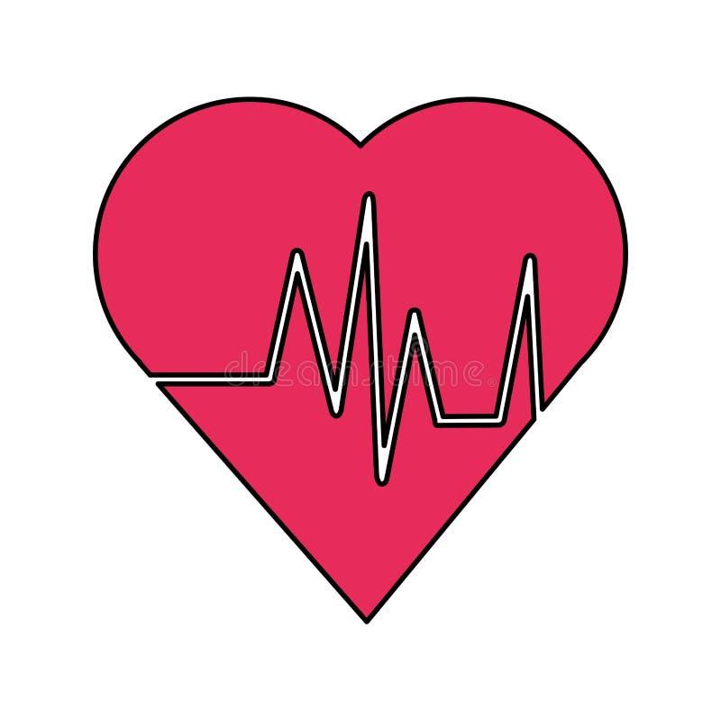 Herz mit Impuls- und Eignungskonzeptdesign stock abbildung