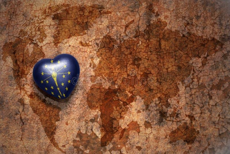 Herz mit Indiana-Staatsflagge auf einem Weinleseweltkartesprungs-Papierhintergrund vektor abbildung