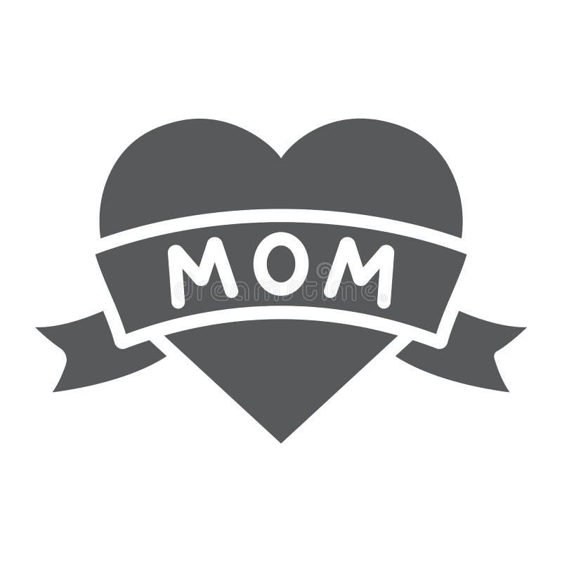 Herz mit Mutteraufschrift Glyphikone, -liebe und -mutter, lieben Mutter tatoo Zeichen, Vektorgrafik, ein festes Muster auf einem  vektor abbildung