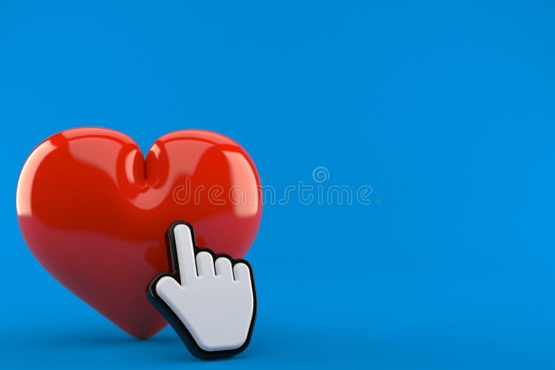 Herz mit Netz-Cursor vektor abbildung