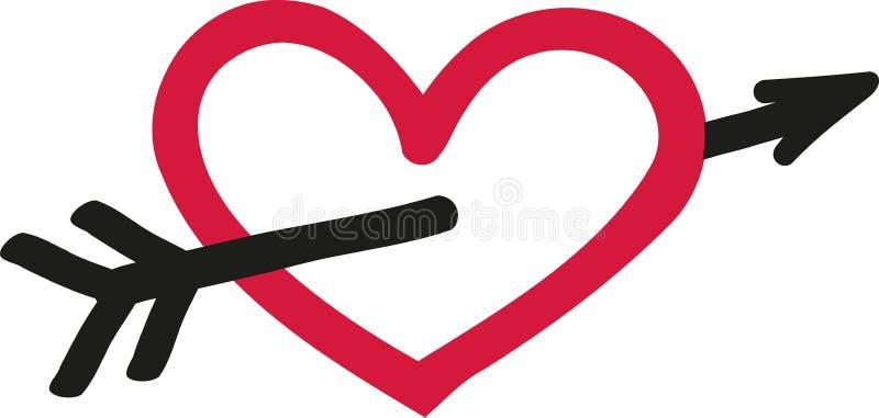 Herz mit Pfeil - Skizzenart lizenzfreie abbildung