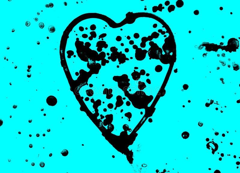 Herz mit schwarzer Aquarellfarbe des Sprays auf dem blauen Hintergrund, nett, Muster, handgemalt stockfotografie