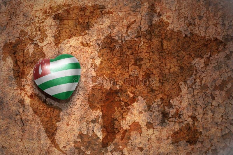 Herz mit Staatsflagge von Abchasien auf einem Weinleseweltkartesprungs-Papierhintergrund lizenzfreie abbildung