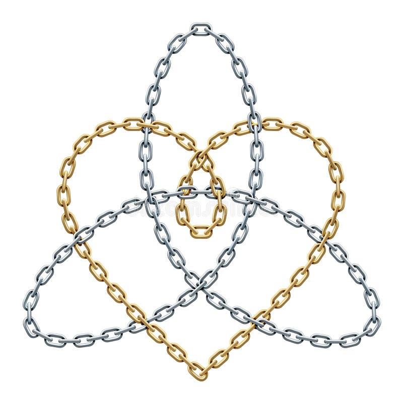 Herz mit Triquetra-Zeichen von Goldenem und von Silberketten Harmonie im Liebessymbol realistische Illustration des Vektors vektor abbildung
