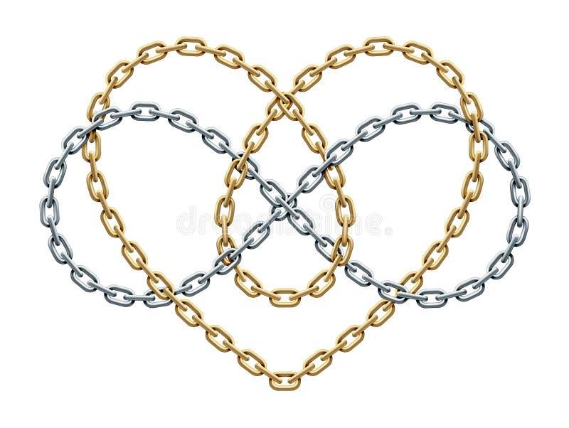 Herz mit Unendlichkeitssymbol des Goldes und der Silberketten Für immer Liebeszeichen Auch im corel abgehobenen Betrag lizenzfreie abbildung