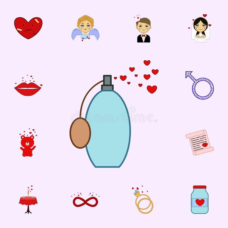Herz, Parfüm, Ikone des Valentinsgrußes s Tages Lieben Sie Ikonenuniversalsatz für Netz und Mobile lizenzfreie abbildung