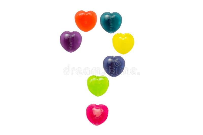 Herz-Süßigkeit gesetzter fraglicher Mark Shape für Valentinsgruß lizenzfreies stockbild