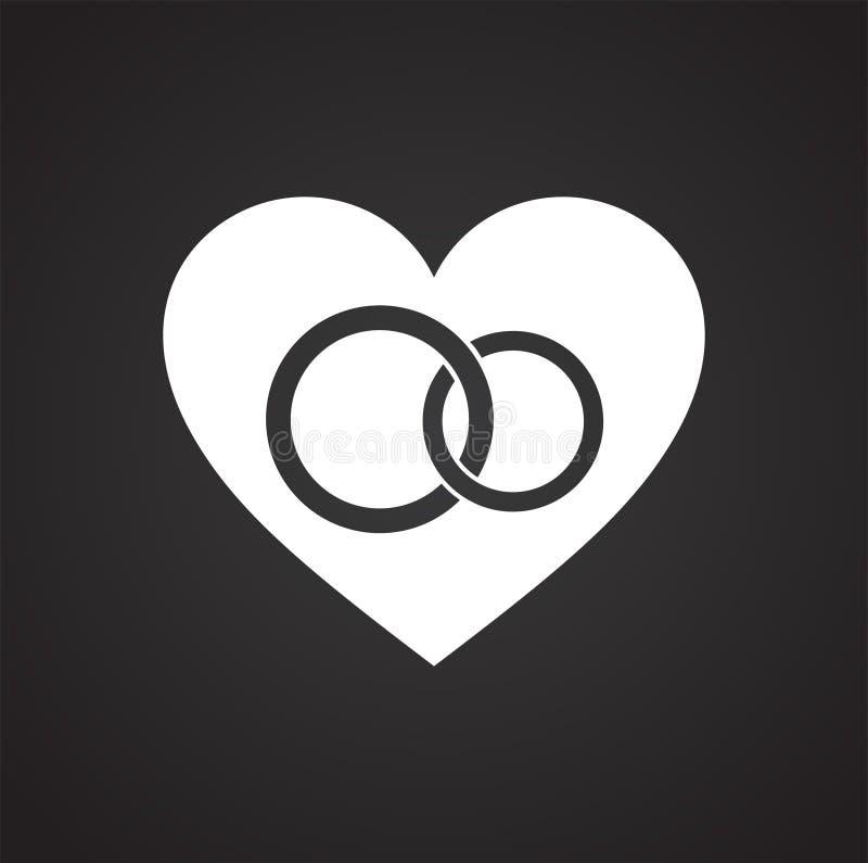 Herz schellt Ikone auf schwarzem Hintergrund für Grafik und Webdesign, modernes einfaches Vektorzeichen Hintergrund der blauen Fa stock abbildung