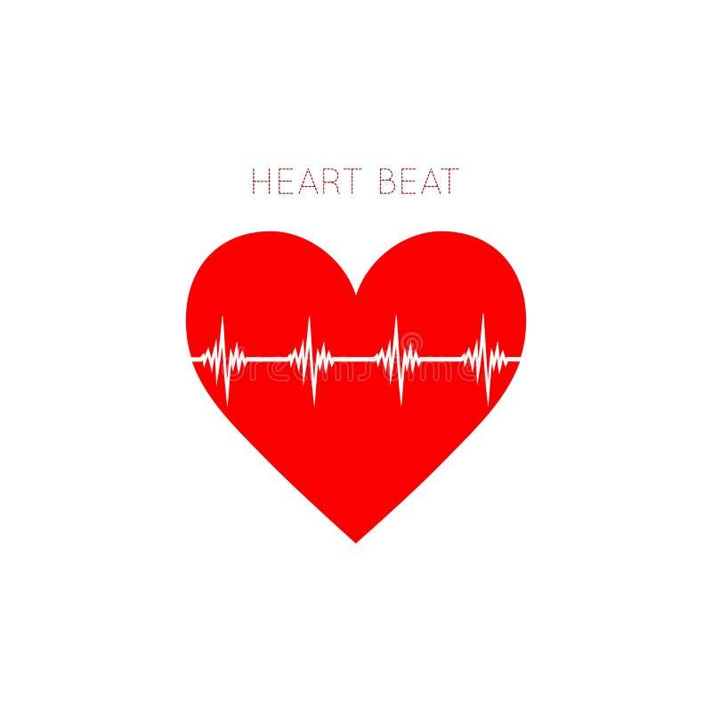 Herz-Schlagikone in der flachen Art EKG-Symbol für Ihren Websiteentwurf, Logo, App, UI lizenzfreie abbildung