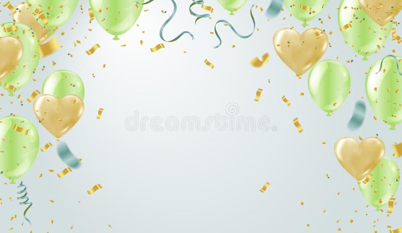 Herz steigt Vektorpartei-Ballonillustration im Ballon auf Konfettis und stock abbildung