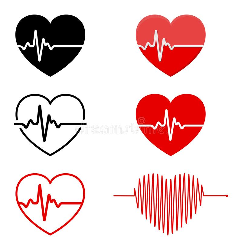 Herz und ECG - EKG-Signalsatz, Herz-Schlagimpulslinie Konzept d lizenzfreie abbildung