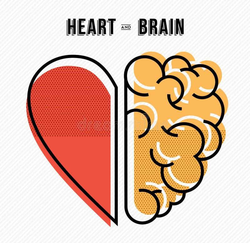 Herz- und Gehirnkonzeptdesign in der modernen Art lizenzfreie abbildung