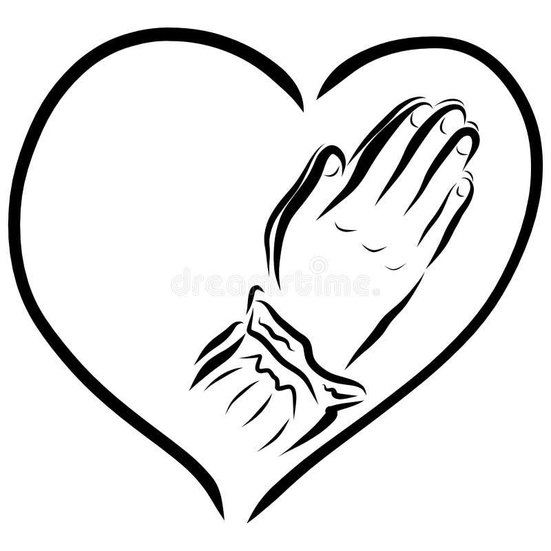 Herz und Hände einer betenden Frau, der Religion und des Glaubens vektor abbildung