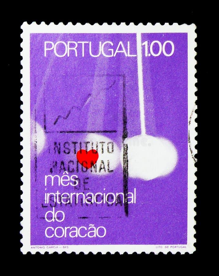 Herz und hängende Bewegung, internationales Herz-Monat serie, circa 1972 lizenzfreies stockbild