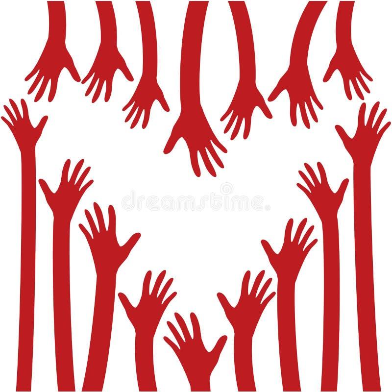 Herz und helle Hände Liebe, Hoffnung, Sorgfalt-Logo, Vektor-Illustration stock abbildung