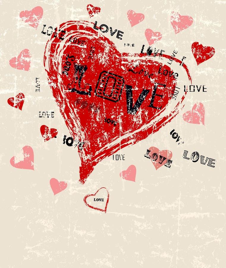 Herz- und Liebesgrußkartenschablone lizenzfreie abbildung