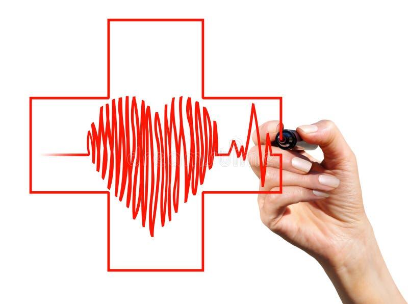 Herz und rotes Kreuz lizenzfreie stockfotos