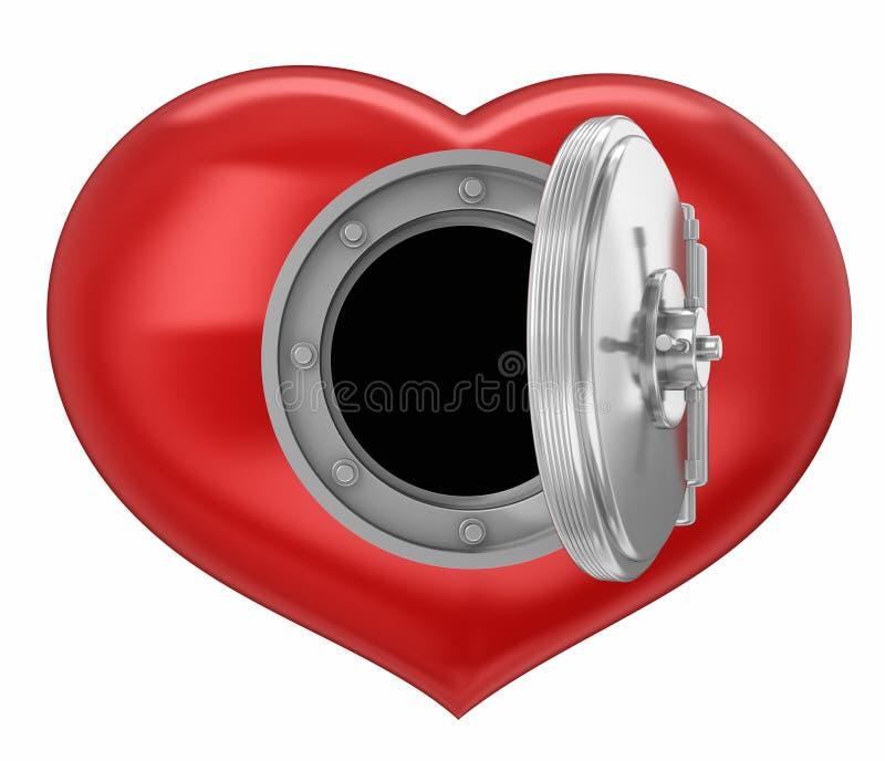 Herz und Tresortür stock abbildung