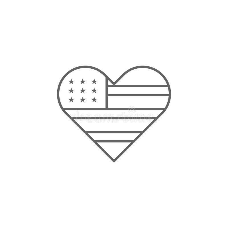 Herz USA-Flaggenentwurfsikone Zeichen und Symbole k?nnen f?r Netz, Logo, mobiler App, UI, UX verwendet werden lizenzfreie abbildung