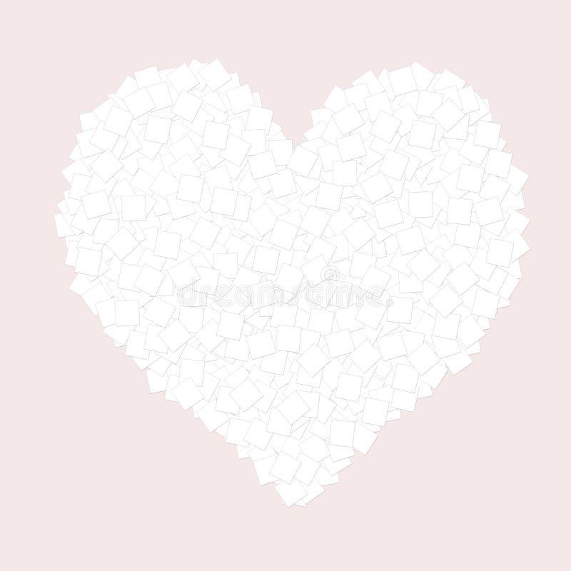 Herz vieler Blätter Papier auf rosa Hintergrund am Valentinstag vektor abbildung