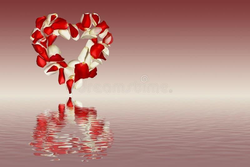 Herz von den Blumenblättern von Rosen auf einem Rosa schattierte Hintergrund mit Reflexion im Wasser vektor abbildung