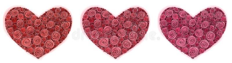 Herz von den Rosen gemalt mit dem Stift und Aquarell am Heilig-Valentinstag lokalisiert stock abbildung