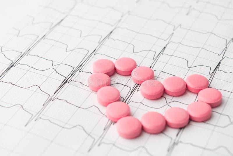 Herz von rosa Pillen auf Papierkardiogramm stockfotografie