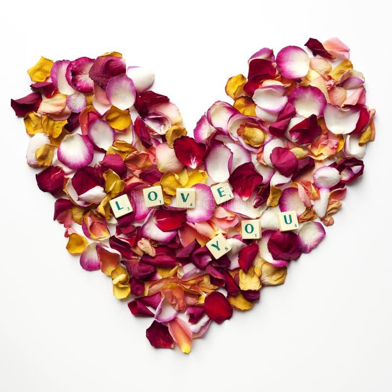 Herz von rosafarbenen Blumenblättern mit den Wörtern: lieben Sie Sie stockbild