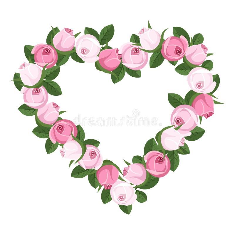 Herz von rosafarbenen Knospen. vektor abbildung
