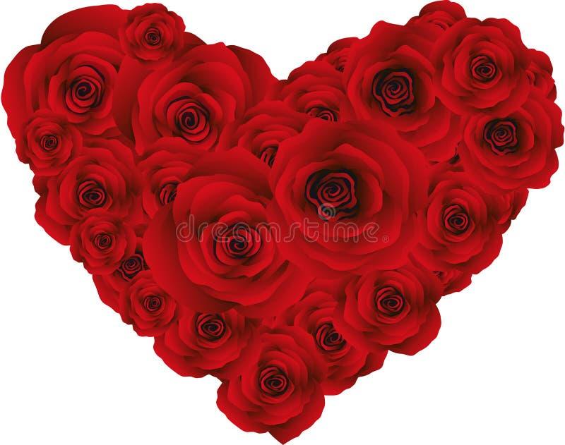 Herz von roten Rosen, Vektor stockfotografie