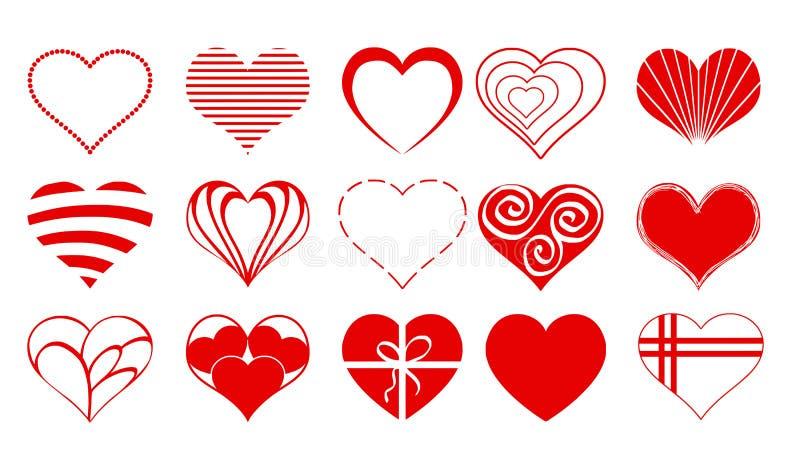 Herz-Zeichnungs-Vektor Valentine Icon Set 03 stock abbildung