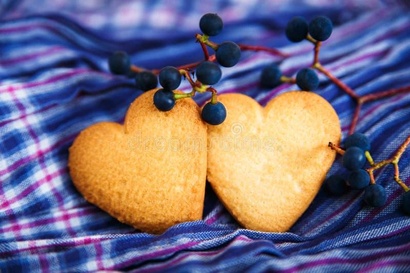 Herz zwei formte Plätzchen und blaue Beere auf dem Farbgewebe zurück stockfotografie