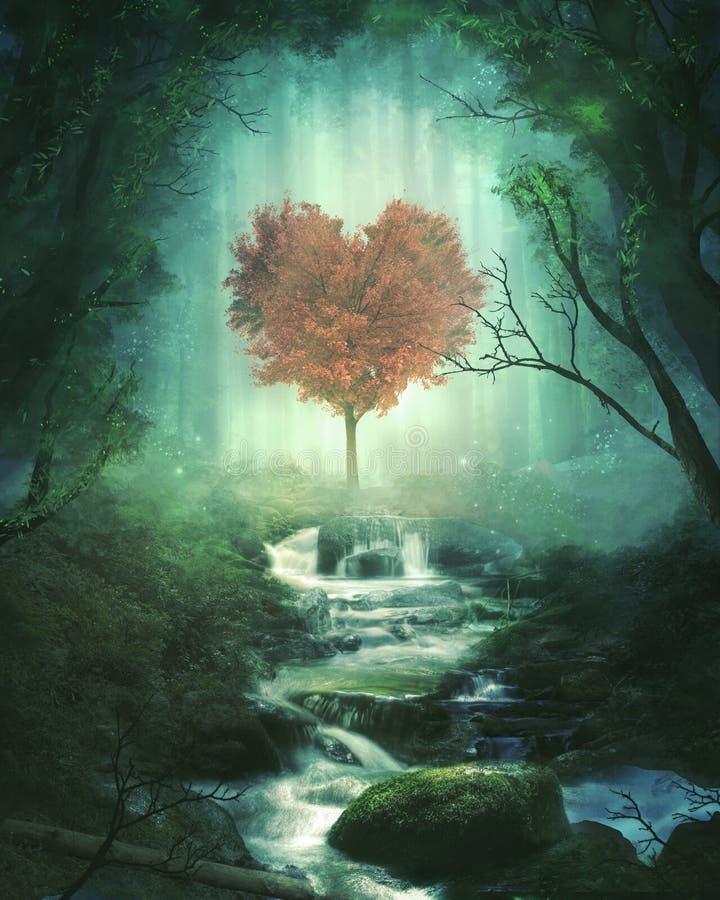 Herzbaum im Wald stockbild