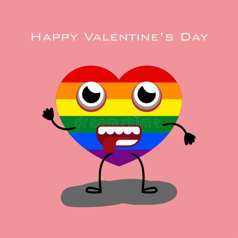 Herzcharakter mit Farbe des Rosahintergrundes LGBT-bauchiger Weinflasche für Valentinstag lizenzfreie abbildung