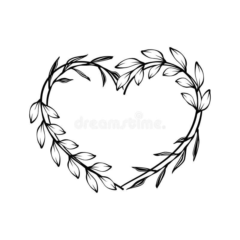 Herzdekorativer Blumenrahmen mit Blättern stock abbildung