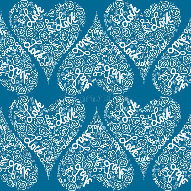 Herzen gebildet mit Wörtern und weißen Buchstaben auf einer blauen Farbe lizenzfreie abbildung
