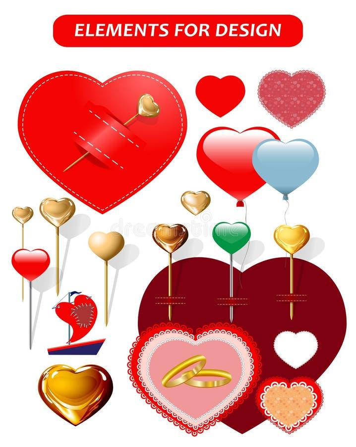 Herzen, Herzen in Form von Stiften, ein Segel, eine Haarnadel stockfoto