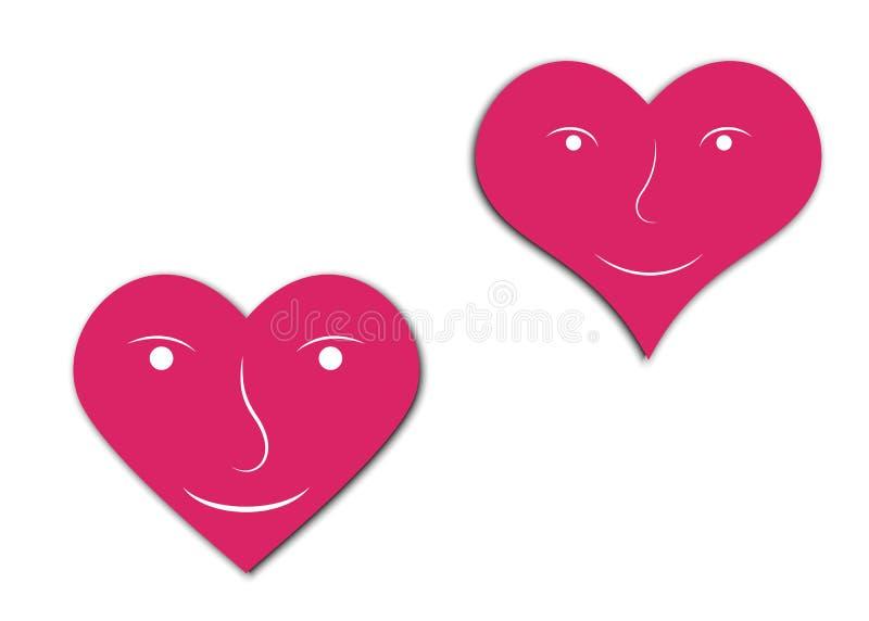 Herzen mit Gesicht lizenzfreie abbildung
