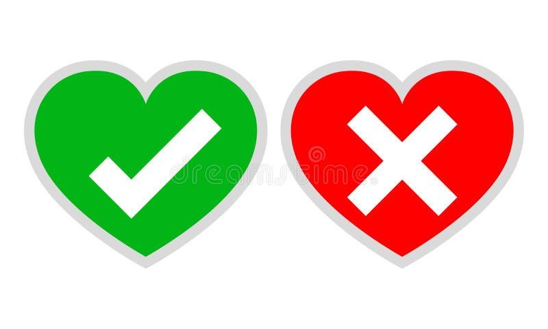 Herzen mit ja und keinen Häkchen Auch im corel abgehobenen Betrag lizenzfreie abbildung