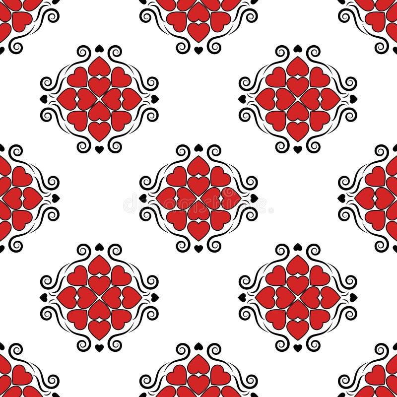 Herzen mit nahtlosem Muster der klassischen Verzierungen der Weinlese viktorianischen vector Retro- im altem Stil Hintergrund Val stock abbildung
