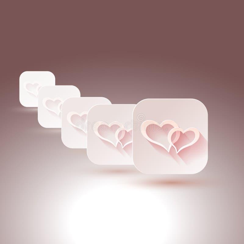 Download Herzen Mit Schatten Für Designe Der Hochzeit, Einladungen Vektor  Abbildung   Illustration Von Süßigkeit