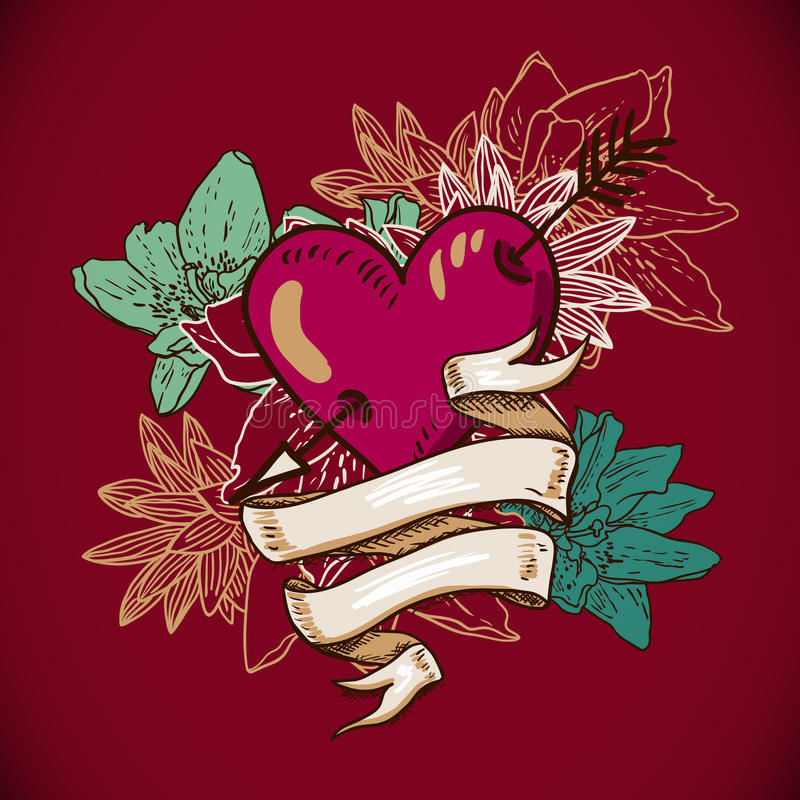 Herzen und Blumen-Vektor-Illustration lizenzfreie abbildung