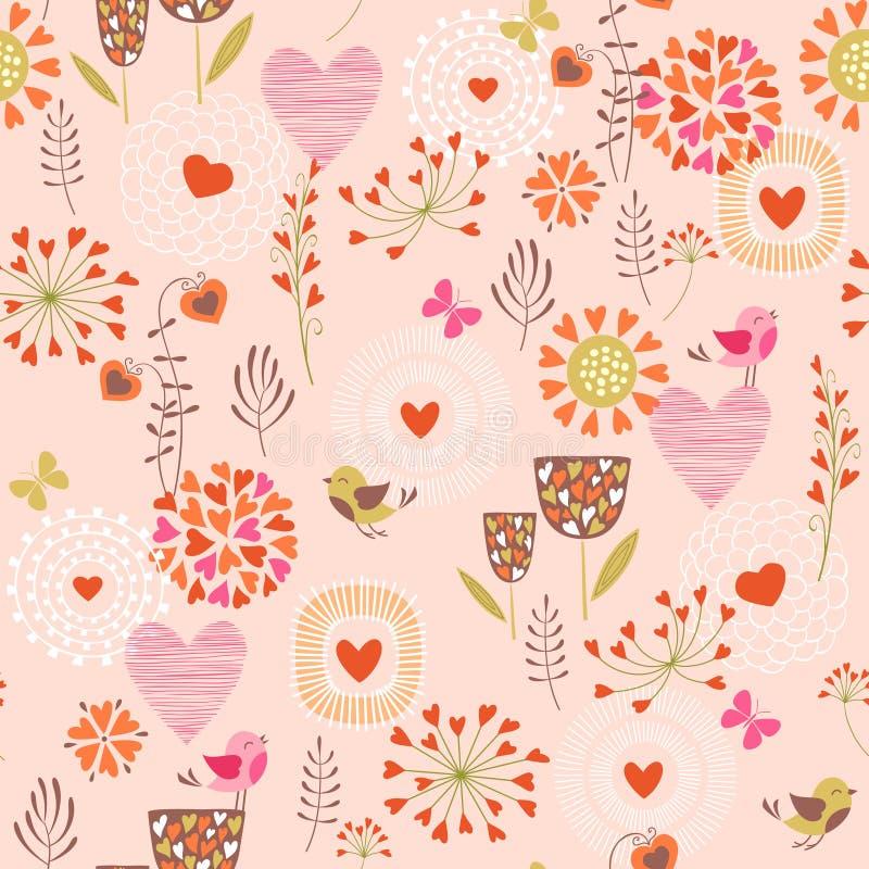 Herzen und Blumenmuster stock abbildung