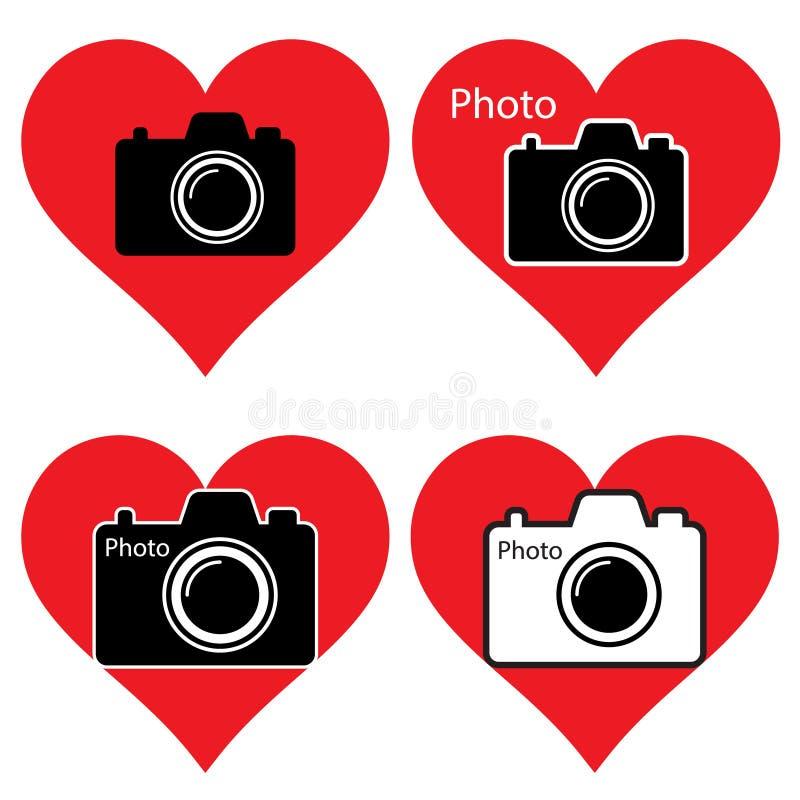 Herzen und Kamera Ich liebe Fotographie stock abbildung