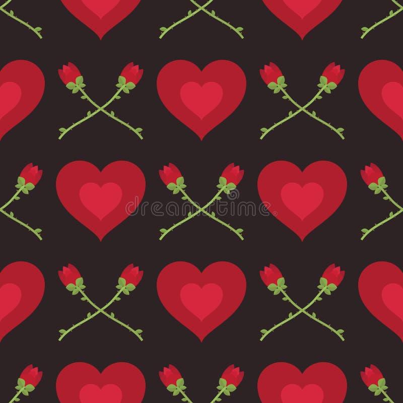 Herzen und Rosenmuster vektor abbildung