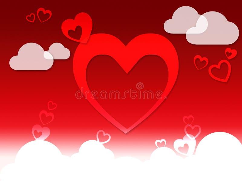 Herzen und Wolken-Hintergrund-Show-Liebes-Empfindung oder in der Liebe vektor abbildung