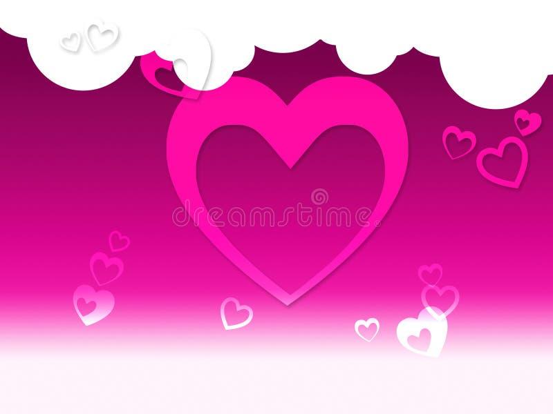 Herzen und Wolken-Hintergrund-Shows ruhige Empfindung oder Romanti lizenzfreie abbildung