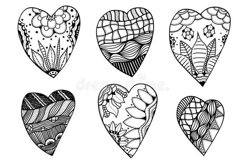 Herzen in zentangle Art vektor abbildung. Illustration von ...