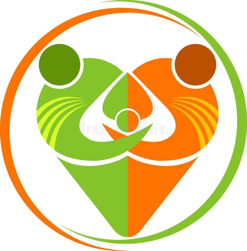 Herzfamilienlogo lizenzfreie abbildung